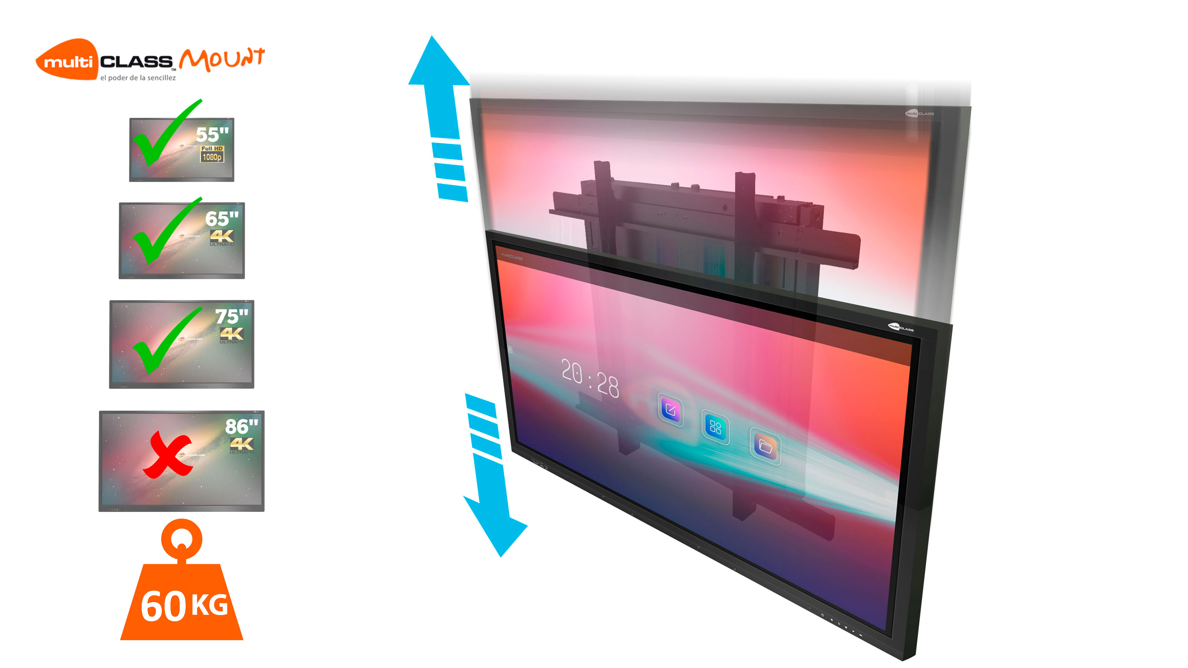 ADJUSTABLE WALL MOUNT Interactive Displays Mounts multiCLASS Mount